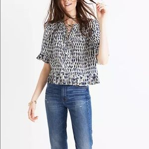 Madewell Sunpleat Lace-Up Top in Painted Feathers
